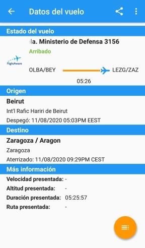 Regresando a Zaragoza (Imagen: @flightaware)