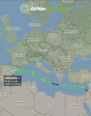 Trayecto del A400 desde Zaragoza a Beirut (Imagen: @RadarBox24)