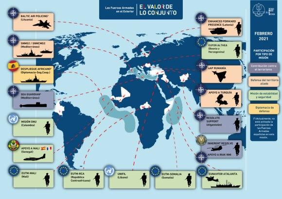 Misiones en el Extranjero 2.021 (Infografía: EMAD)